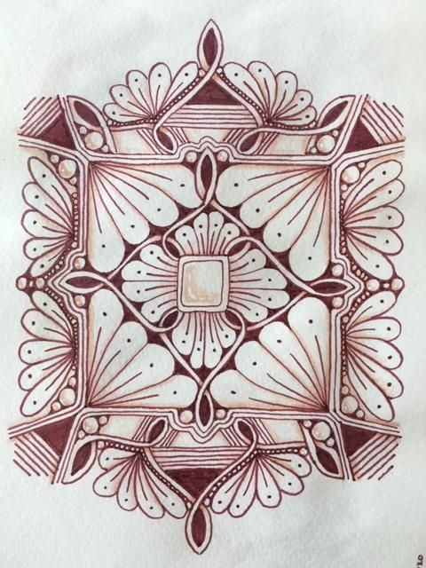 Brown mandalas with zentangle patterns - image 2 - student project