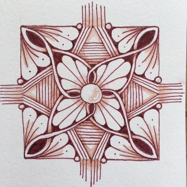 Brown mandalas with zentangle patterns - image 1 - student project