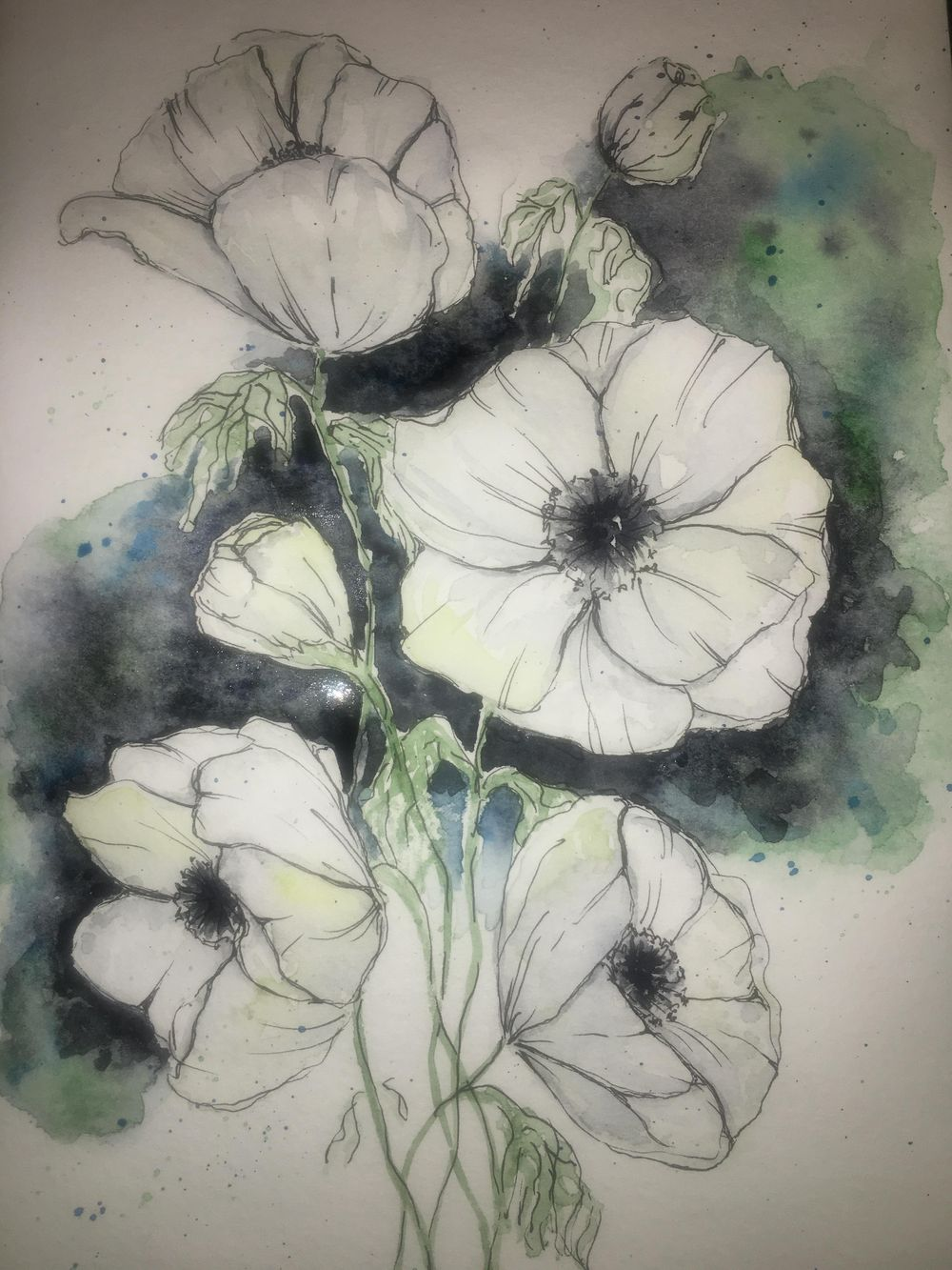 White watercolour & ink anemones - image 3 - student project