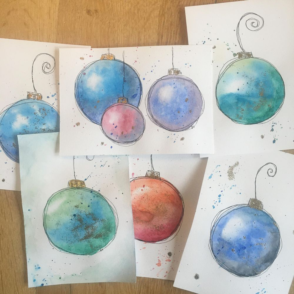 Loose watercolor baubles - image 1 - student project