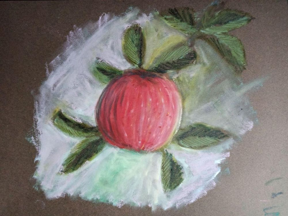 Oil pastel apple - image 1 - student project