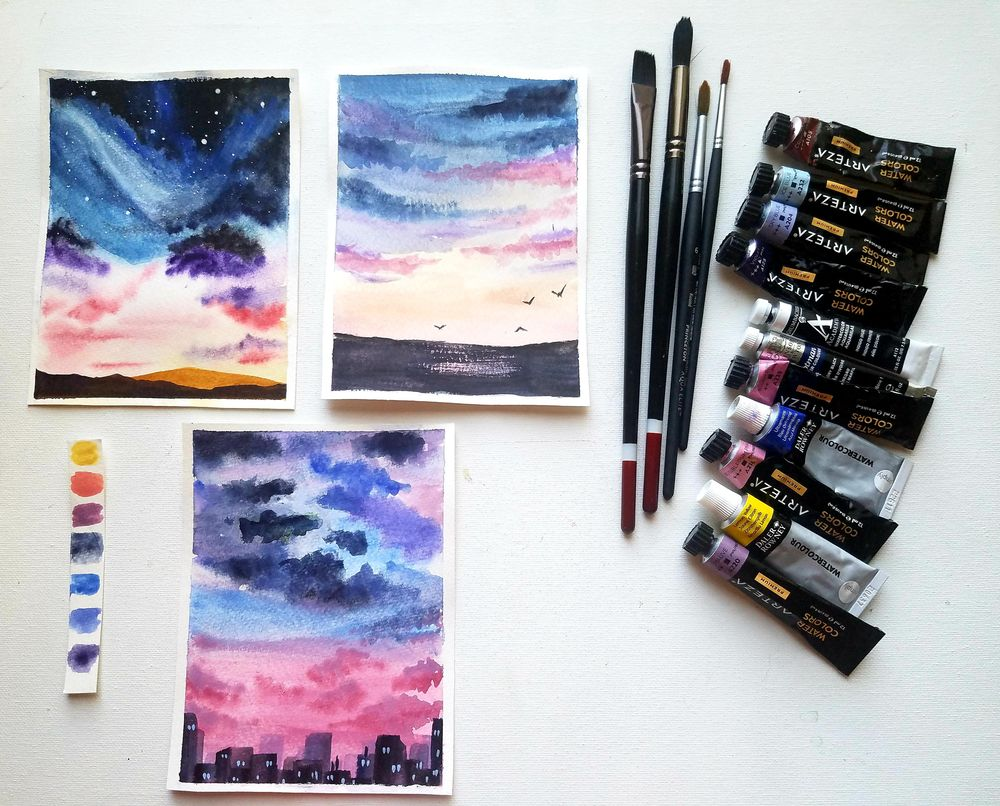 Dreamy Sunsets: Paint Dazzling Skies with Watercolor - image 1 - student project