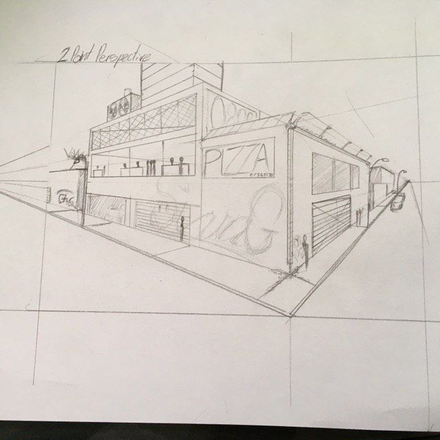 City perspective drawing - image 1 - student project