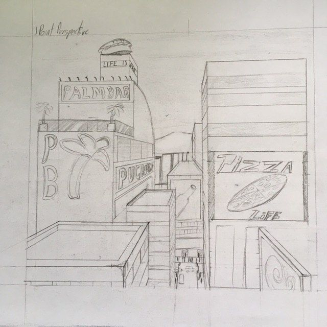City perspective drawing - image 2 - student project