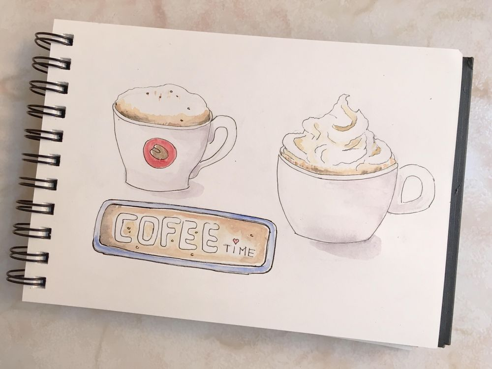 Watercolor cofee - image 1 - student project