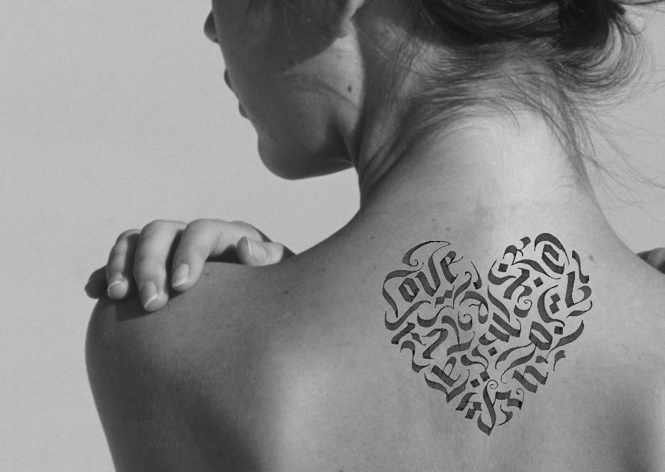 Calligraphy heart tattoo - image 2 - student project