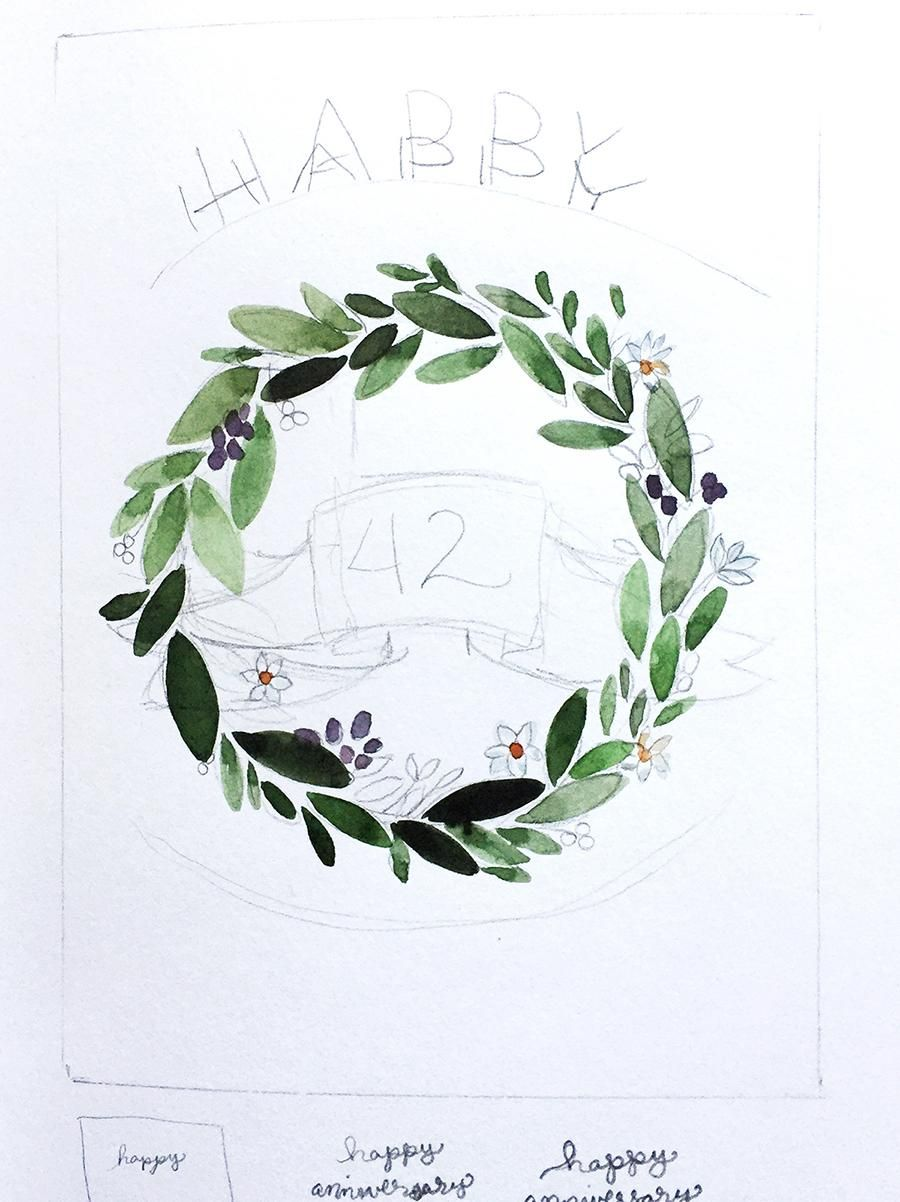 Illustrative style anniversary wreath - image 2 - student project