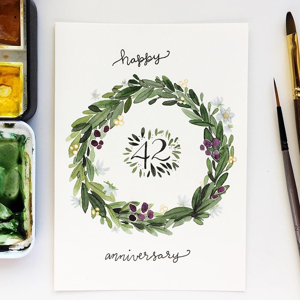 Illustrative style anniversary wreath - image 3 - student project