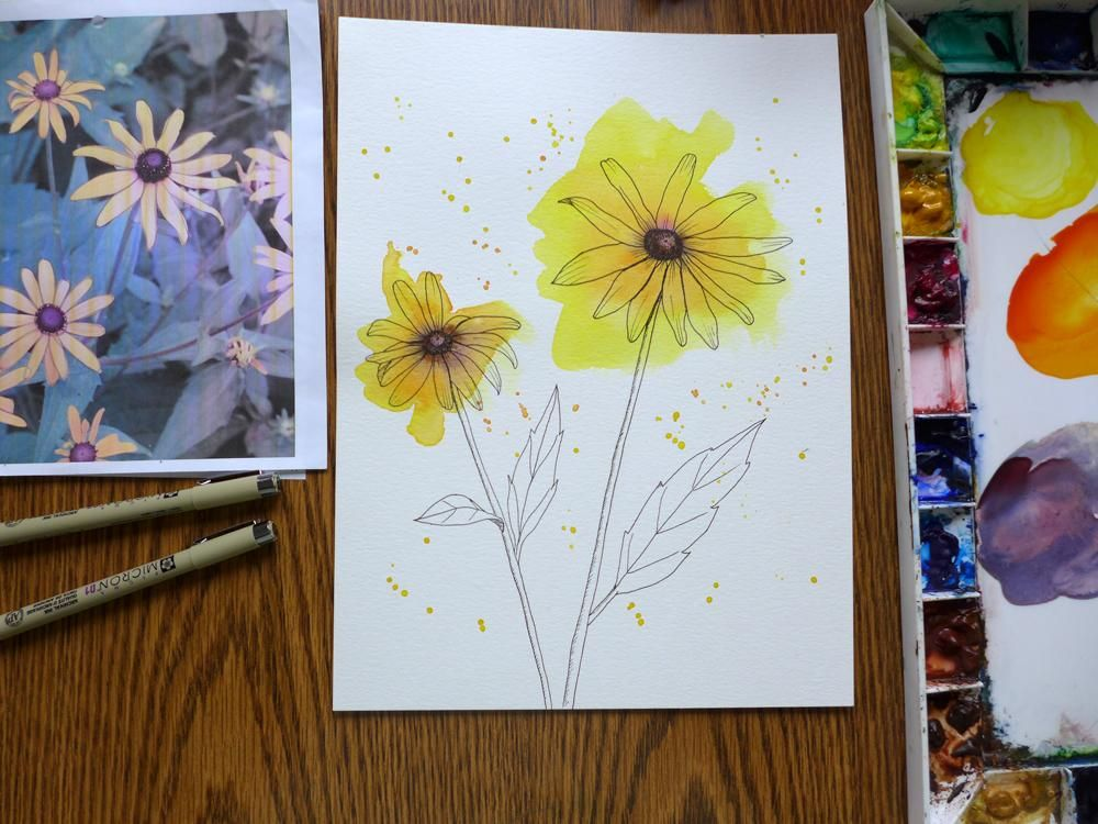 Loose Watercolor and ink Flowers - image 1 - student project