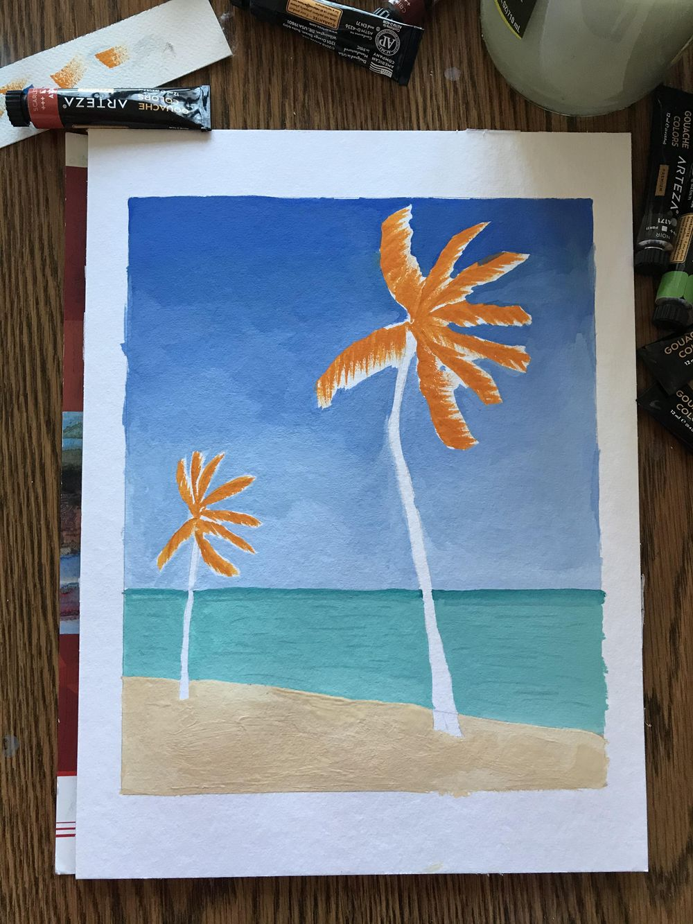 Palm Trees with Gouache - image 1 - student project