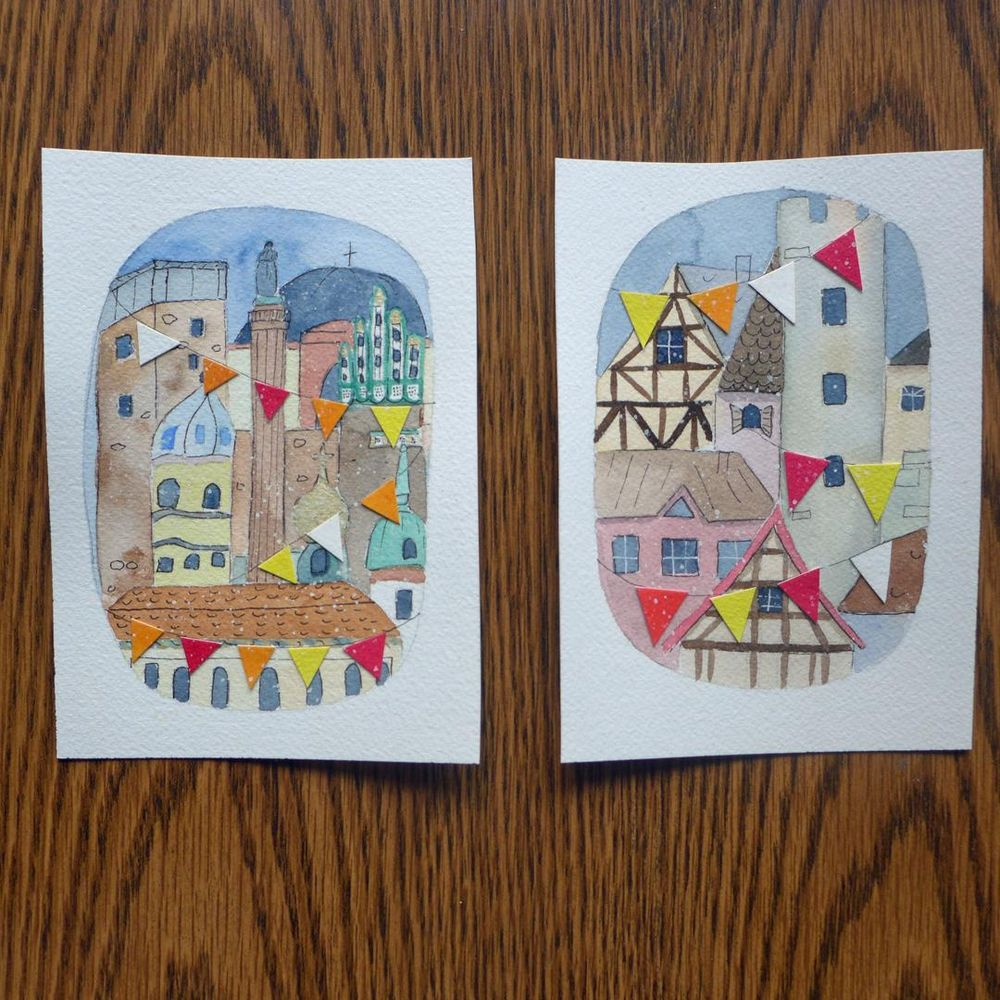 Winter Towns Watercolor and Collage - image 2 - student project