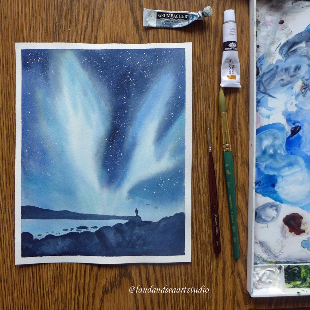 Northern Lights in Watercolor - image 3 - student project