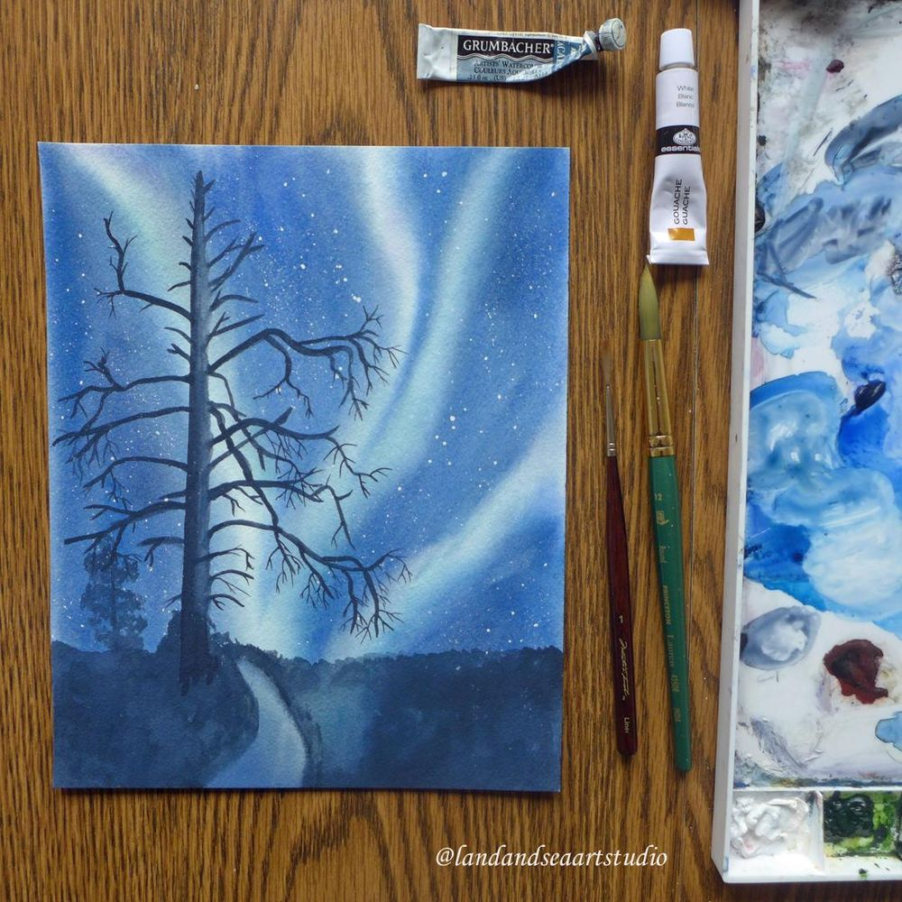Northern Lights in Watercolor - image 2 - student project