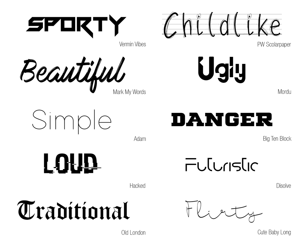 10 words, 10 typefaces - image 1 - student project