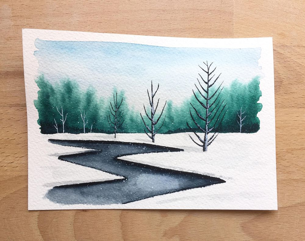 Winter landscapes - watercolor - image 4 - student project