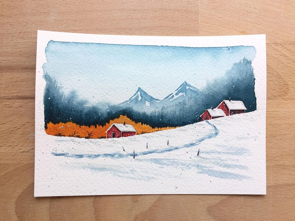 Winter landscapes - watercolor - image 5 - student project