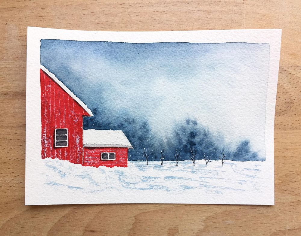 Winter landscapes - watercolor - image 1 - student project