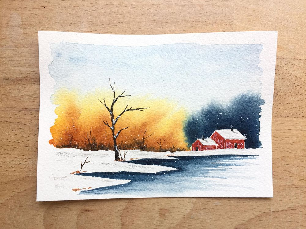Winter landscapes - watercolor - image 2 - student project