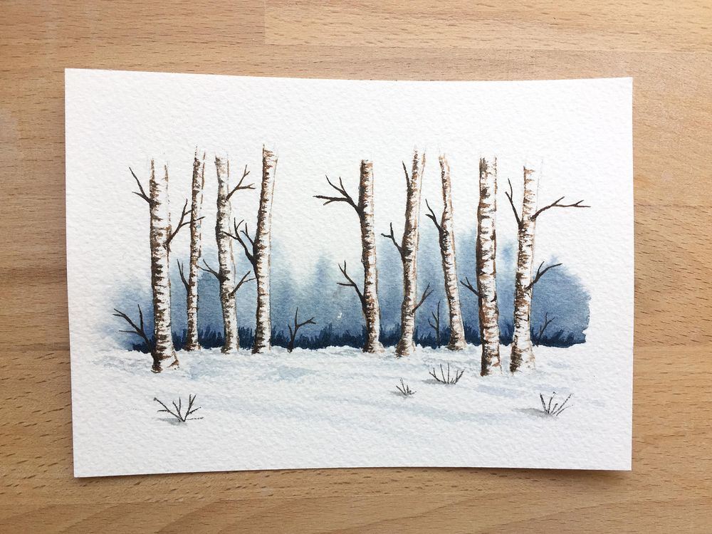 Winter landscapes - watercolor - image 3 - student project