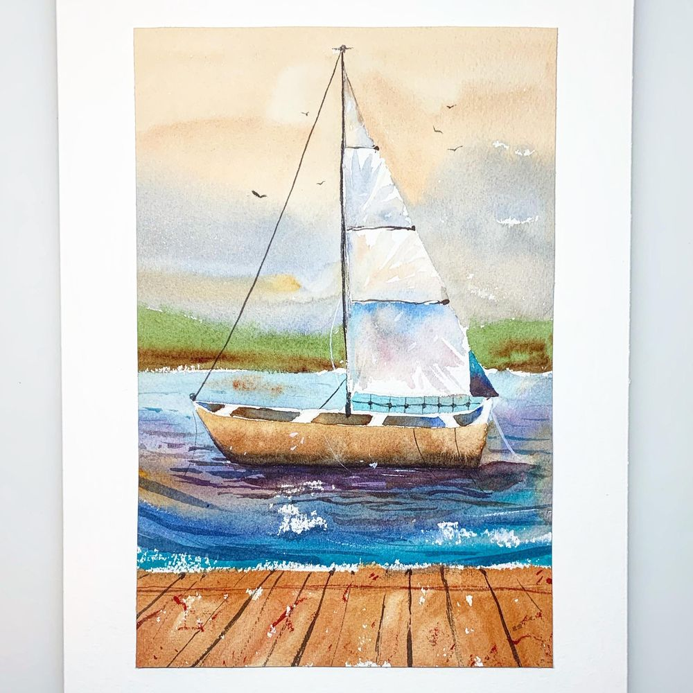 Introduction to Watercolor Seascapes : Learn Negative Painting & Perspective - image 2 - student project