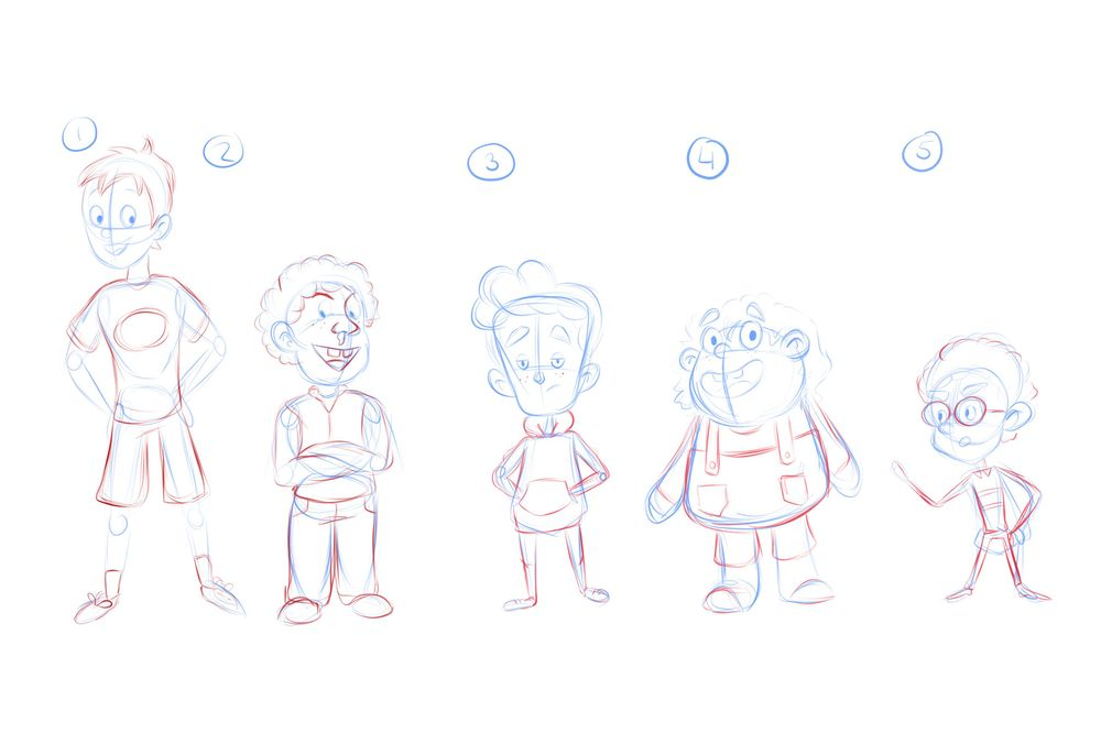 5 Boys - Character Design - image 1 - student project