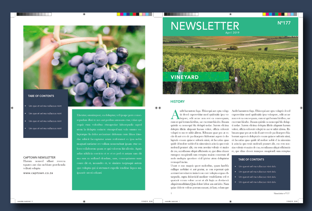 Newsletter design - 4 spread pages - image 1 - student project