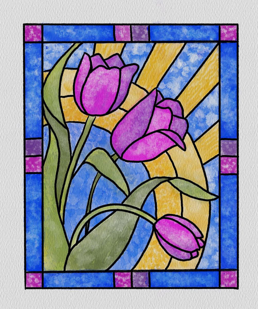 Watercolor Stained Glass - image 1 - student project