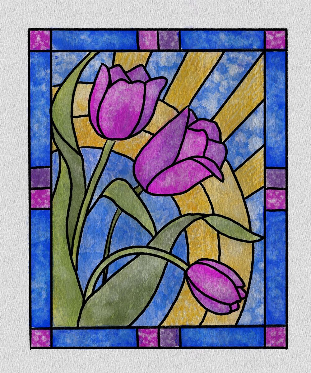 Watercolor Stained Glass - image 2 - student project