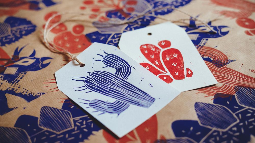 Dinosaur Linocut Wrapping Paper & Gift Tags - image 5 - student project