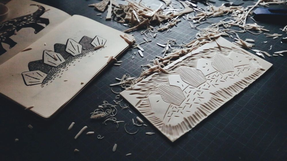 Dinosaur Linocut Wrapping Paper & Gift Tags - image 2 - student project