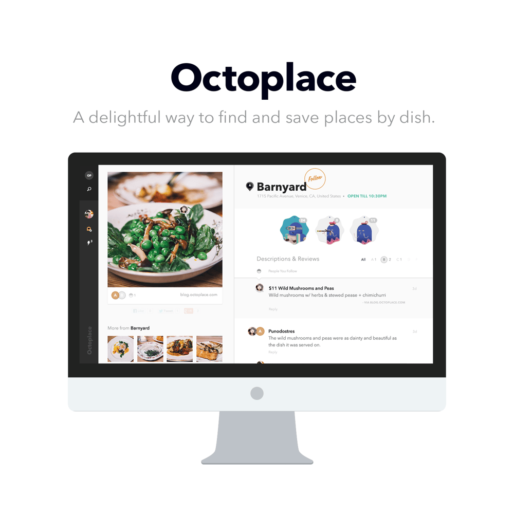Octoplace.com - Find and save places by dish - image 1 - student project