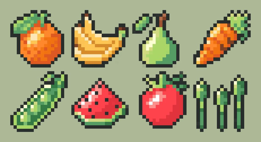 Fruit and veggie item set - image 1 - student project