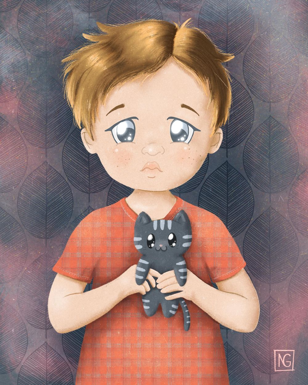 Sad boy with a kitten - image 3 - student project