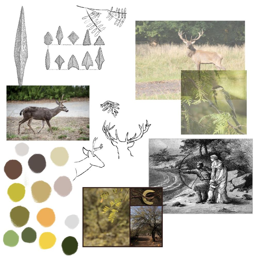 Hunting with Bow & Arrow Folk Art - image 1 - student project