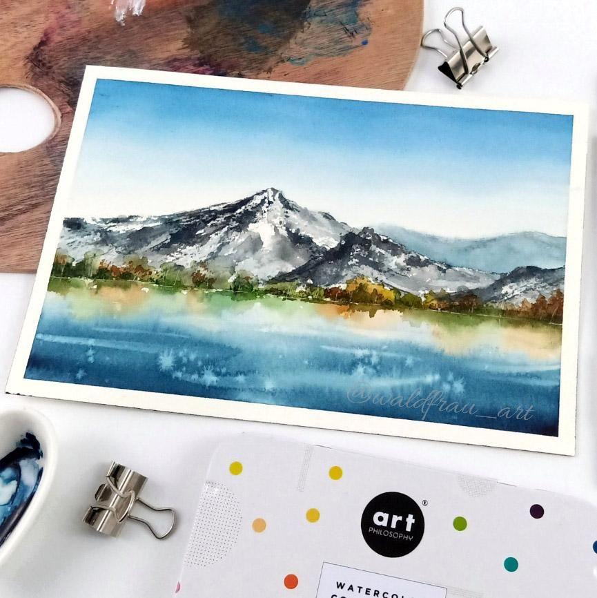Watercolor landscape reflection - image 1 - student project