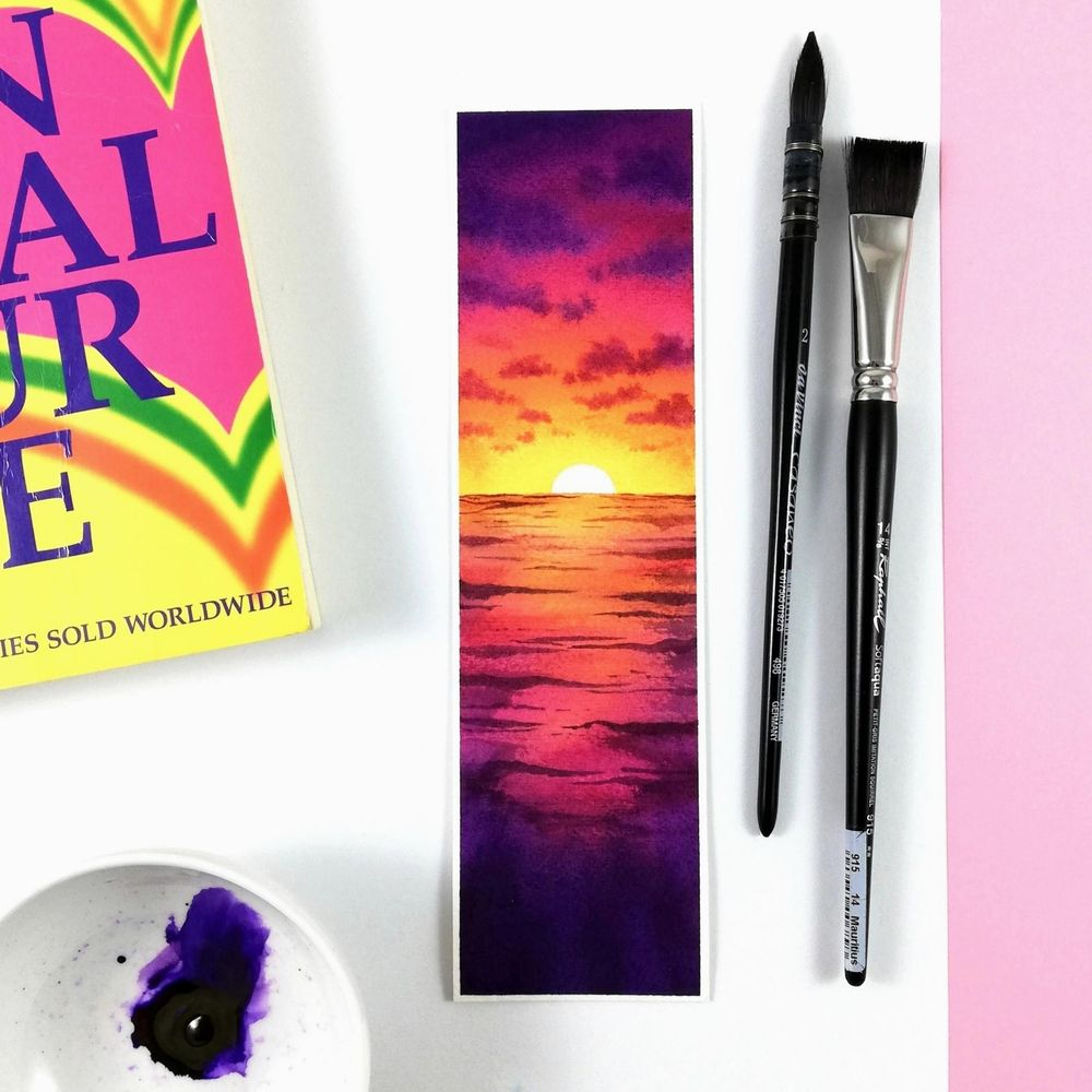 Magical watercolor sunset - image 1 - student project
