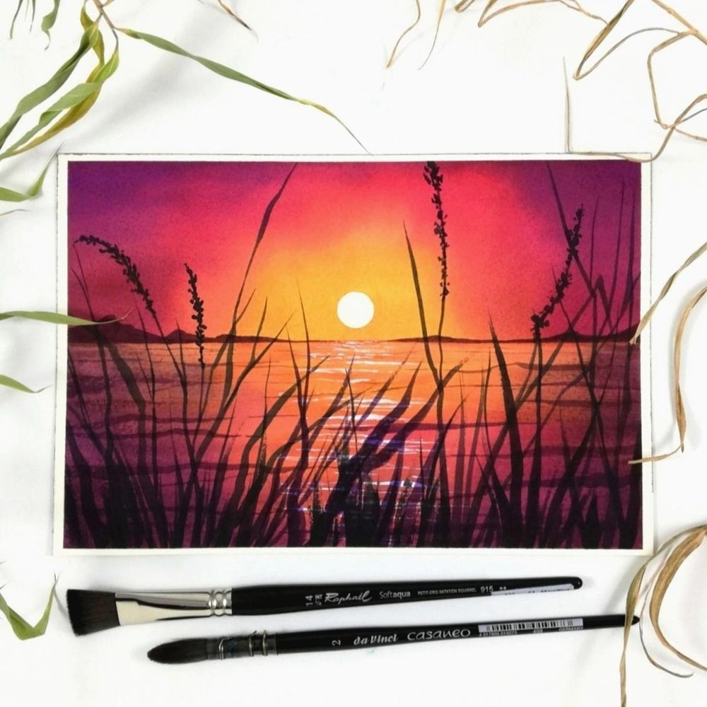 Magical watercolor sunset - image 2 - student project