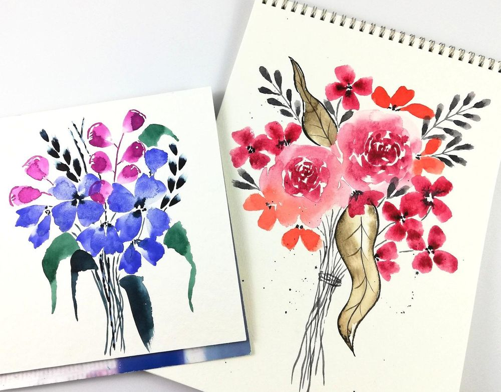 My first loose floral bouquets - image 1 - student project