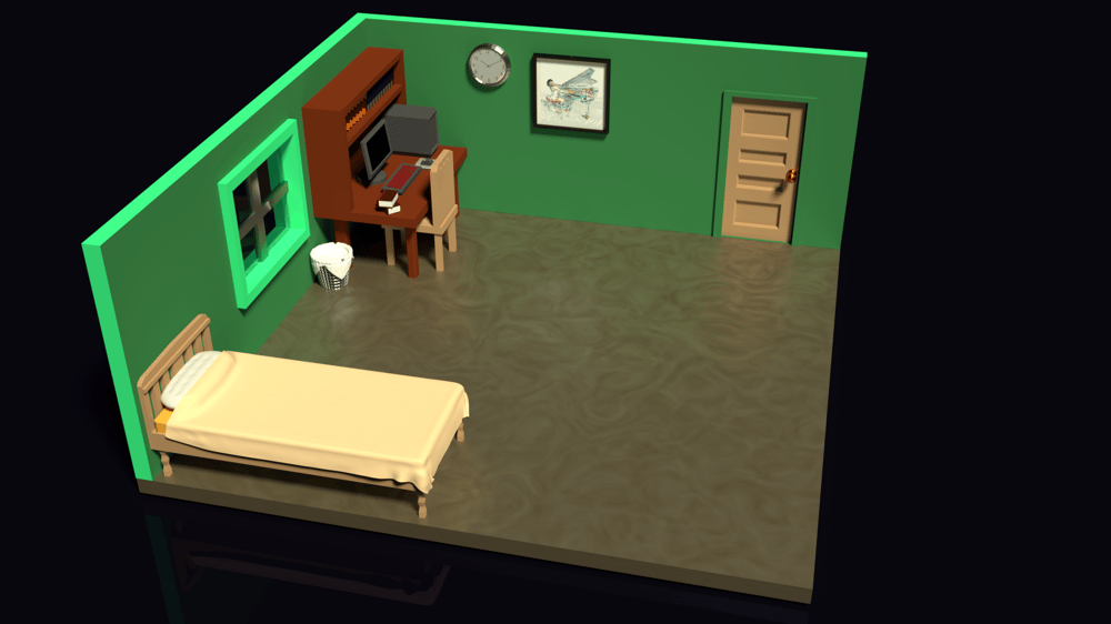 Low Poly Bedroom - image 1 - student project