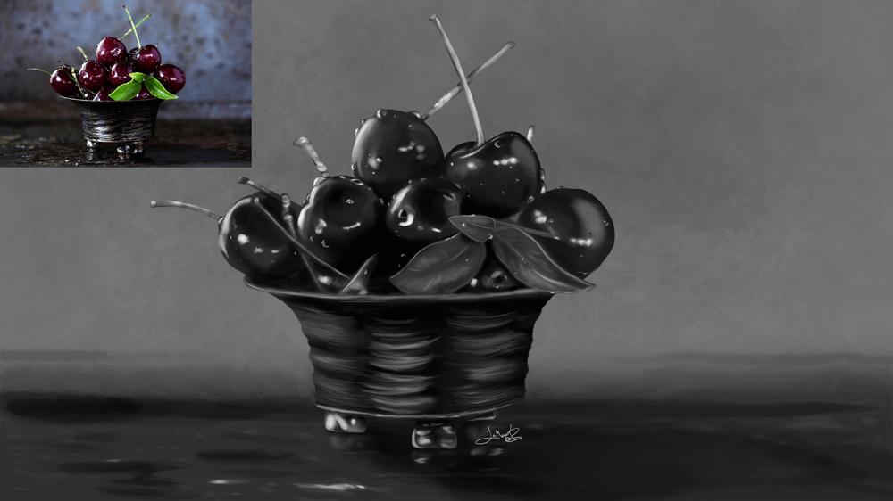 Still Life: Apple & Cherries - image 4 - student project