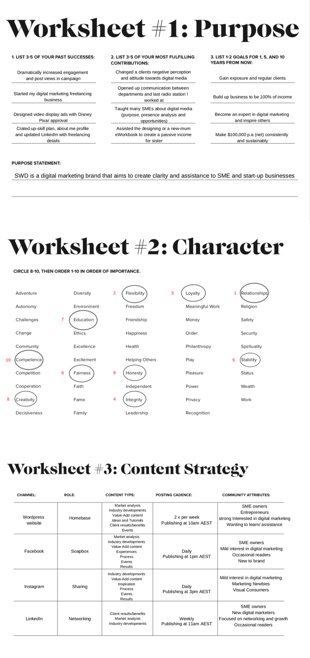 Personal Brand Worksheets - image 1 - student project