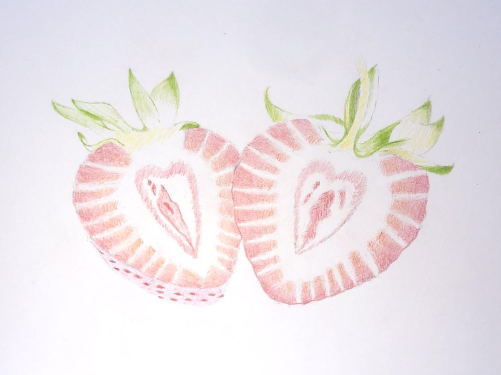 Strawberries in Colored Pencil - image 2 - student project