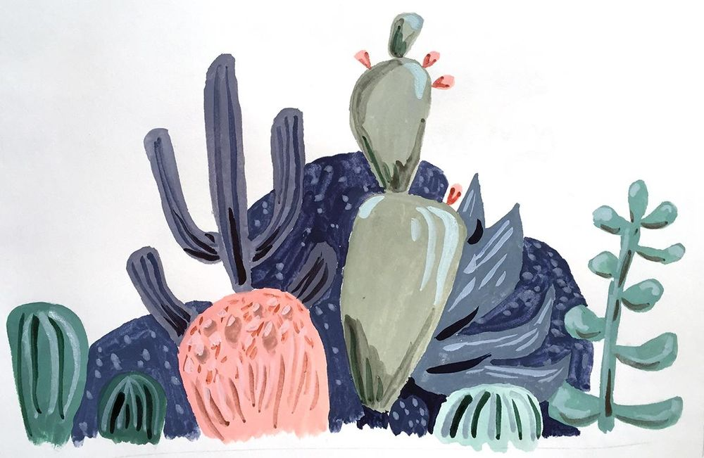 Modern Watercolor...Succulents - image 2 - student project