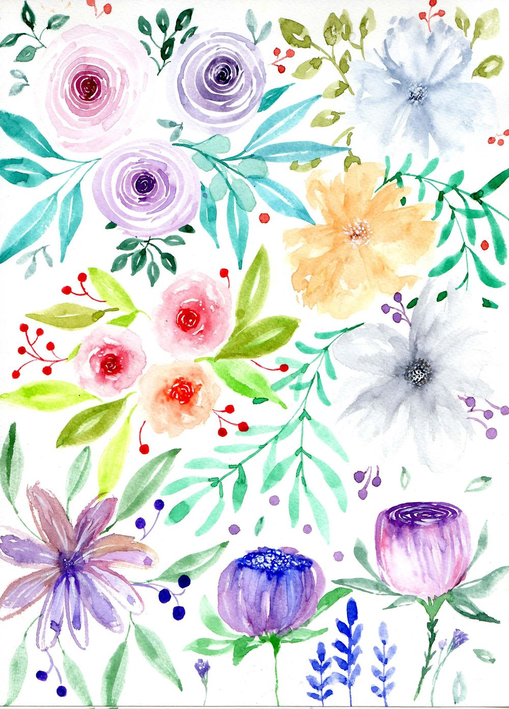 Loose Watercolor Florals - image 1 - student project