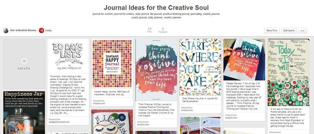 Pinterest Board for Journal Ideas by Kari Sayers - image 1 - student project