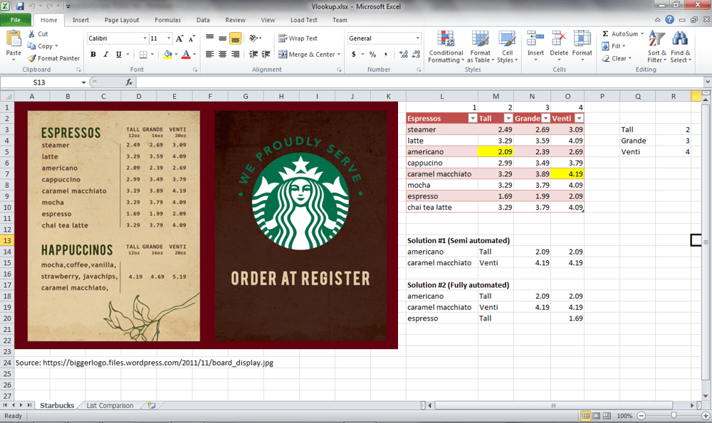 Starbucks Menu Automatic Vlookup! - image 1 - student project