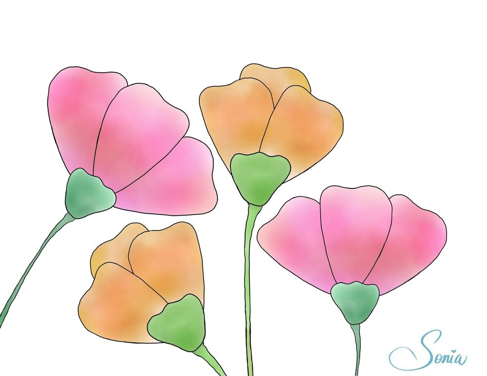 Pastel flowers - image 1 - student project