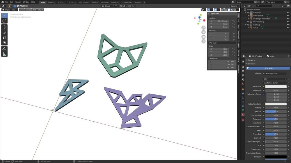 Printed Jewelry, modeled in Blender - image 3 - student project