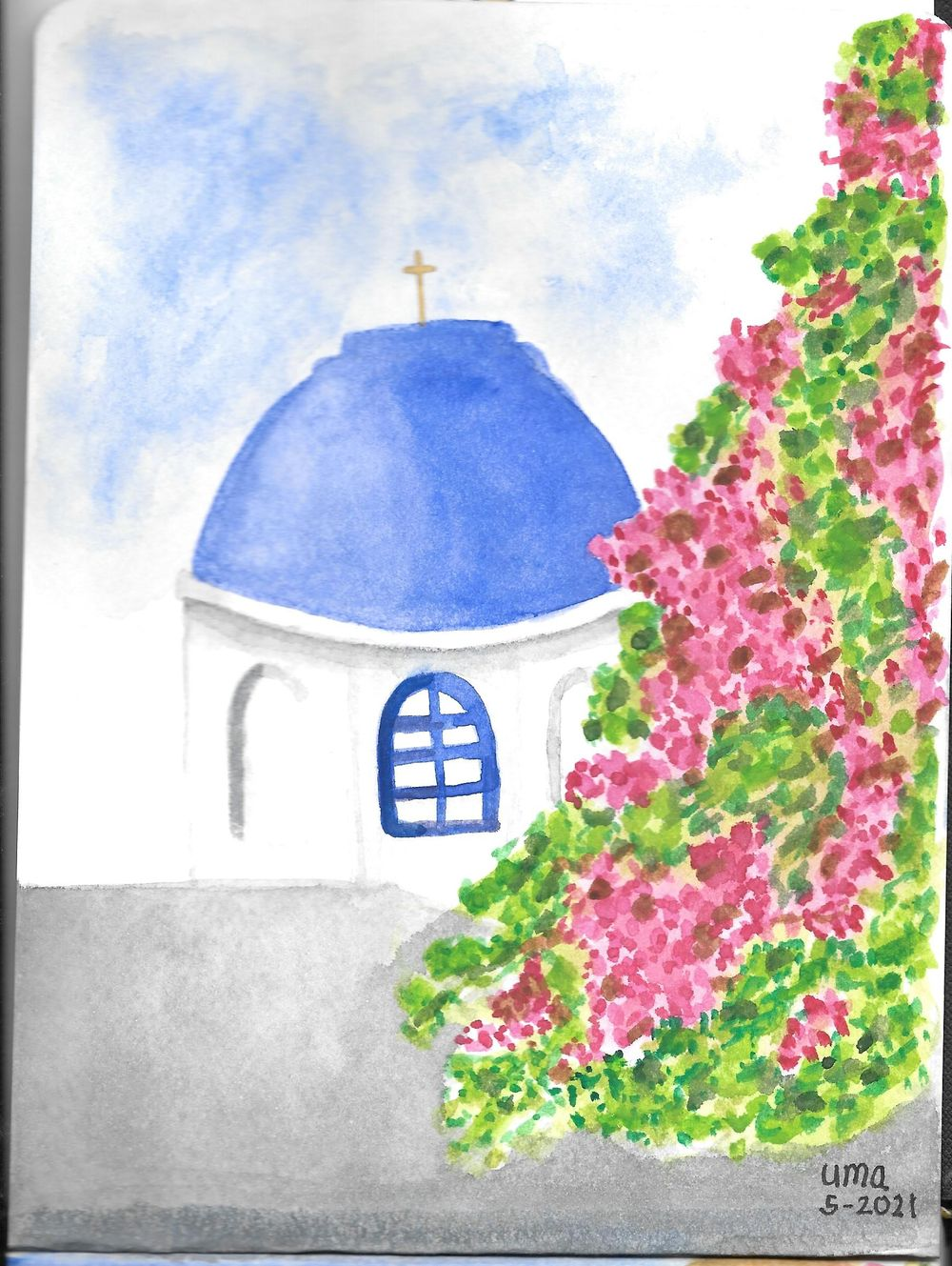 Watercolor  Greece Travelogue - image 2 - student project
