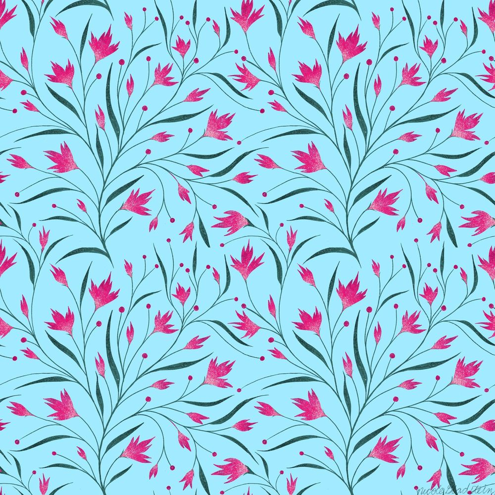 wildflowers repeating pattern - image 2 - student project